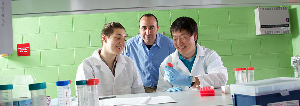 two students with a mentor in the lab