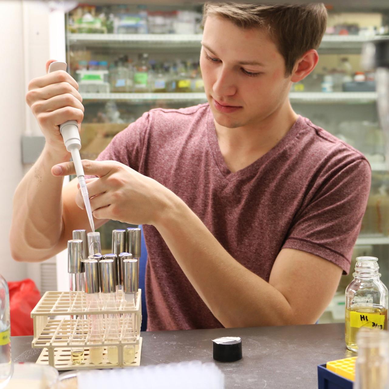 Evan Lamb in lab